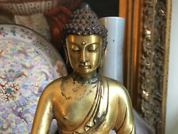 An Excellent Chinese Qing Dynasty Gilt Bronze Buddha Marked.