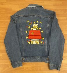 """""""too Cute"""" Peanuts Gang Denim Jacket Women Size Small Snoopy Charlie"""