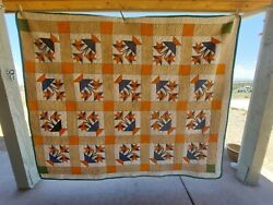 Antique Carolina Lily Quilt Cheddar And Navy 68 X 82