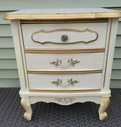 Rare Vintage Hollywood Regency French Provincial Dixie Nightstand 70s Bonnet