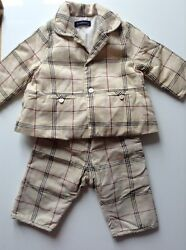 Pre-owned 100 Auth By Baby Boy Designer Checked Suit. 6 Months