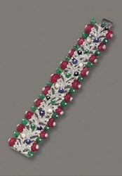 Colorful Carved Emerald Ruby 925 Sterling Silver High Statement Diamond Bracelet