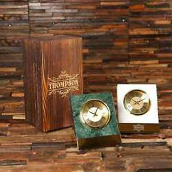 Personalized Executive Shelf Clock In Green Or White Marble W/ Wooden Gift Box