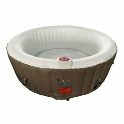 Aleko Htir4brw Round Inflatable Hot Tub Spa With Cover,4 Person Portable Hot Tub