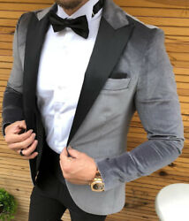 Grey Silver Velvet Tuxedo Party Wedding Suit Fitted Slim Fit 46