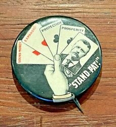 1904 President Theodore Roosevelt Stand Pat Cards Campaign Pinback Button
