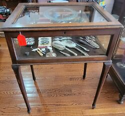 Antique Walnut And Etched Bevel Glass Free Standing Vitrine 35t X 25 1/2 W X 19
