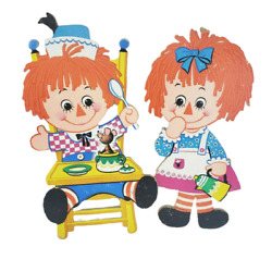 Vintage 1972 Raggedy Ann And Andy Childrens Bedroom Wall Hanging Toy Decorations