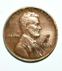 Rare 1939 Lincoln No Mint Mark Wheat Back One Cent Penny Coin - Nice Condition