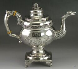 1816-1818 Fab Antique American Coin Silver Coffee Teapot Whartenby And Bumm