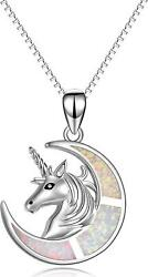 925 Sterling Silver Unicorn White Created Opal Moon Pendant Necklace 18