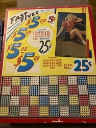 Vintage Punch Board Fast Fives 5 Cent Sale Unpunched - Rare