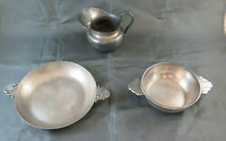Two Bowls And A Creamer Vintage Art Deco Art Nouveau Nickel Silverplate Bm29