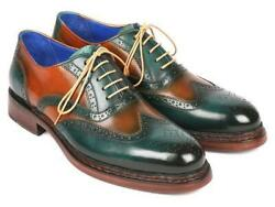 Paul Parkman Mens Shoe Oxfords Green Tobacco Wingtip Goodyear Welted 027-grn-tab