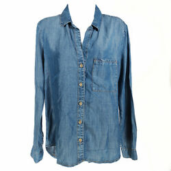 Anthropologie Cloth And Stone Chambray Button Up Shirt Blue S Long Sleeve Tencel