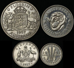 1957 Melbourne 4-coin Silver Proof Set