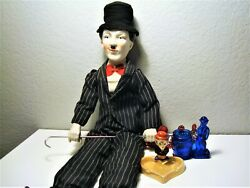 Charlie Chaplin Collection Porcelain Doll, Ashtray And Cobalt Toothpick Holder
