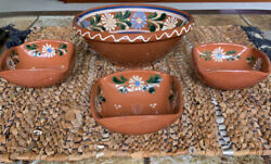 Vintage Hand Painted Red Clay Pottery Serving Bowl And 3 Small Bowls