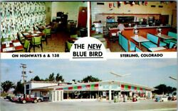 Sterling Co Postcard - The New Blue Bird - Cafe And Texaco Service - Unposted