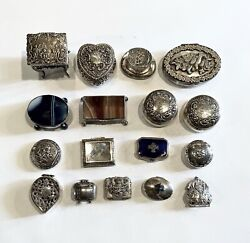 One Lot Of 17 Pieces Vintage Sterling Silver Snuff And Pill Box Dresser Boxes