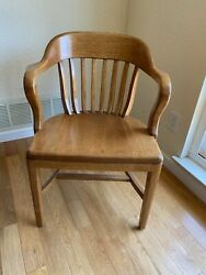 Vtg Sikes Co, Inc. Buffalo New York Solid Wood Office Chair Bankers Chair