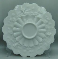 Westmoreland Milk Glass Paneled Grape Large Plate Cake Low Footed 14 Wide