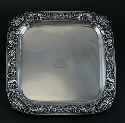 Excellent Late 1800s And Co Sterling Silver Floral Peony Footed Tray