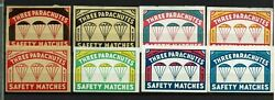 Matchbox Label Labels Very Old Vignets Belgium Three Parachutes Safety Matches