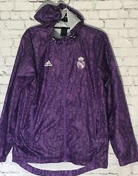 Adidas Real Madrid Nylon Glanz Anthem Jacket Purple Spell-out Size Small Rare