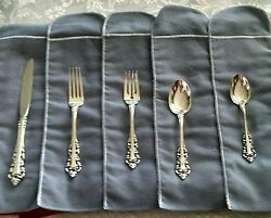 Gorham Medici Sterling Silver Set For 6 Settings - 30 Pieces And Felt Wraps-new