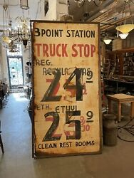 Vintage 1950s Jumbo Hand Painted Distressed Metal Truck Stop Gas Station Sign