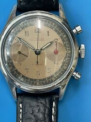 Lecoultre Vintage Chronograph Stainless Steel Bronze Dial 714