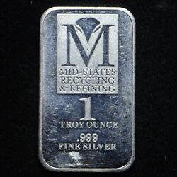 Mid States Recycling And Refining 1-oz .999 Silver Bar Cn9066