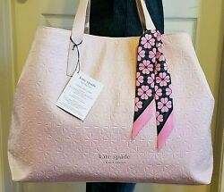KATE SPADE Embossed Oversized TOTE XL Shopper Carryall BAG w SCARF Pink LE NWT $53.90