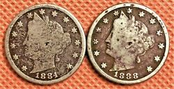 1884 And 1888 V-nickel Coin, Semi Key Date Coins, See Pictures For Detail 1