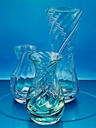 Beautiful Vintage Set Of Three Caithness Candy Swirl Glass Vases Lilac And Green