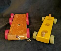 Set Of 2 Vintage Wooden Pull Wagon Toys Wood Wheels String Kids Toy