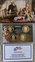2007 S Presidential Dollar 4 Coin Proof Set Original Packaging W/coa No Reserve