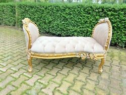 New Beige French Louis Xvi Style Gold Leaf Chaise/bench/settee