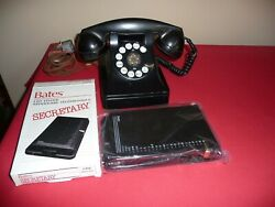 Antique Telephone Bell System By Western Electric F1 Black Rotary W/bates Finder
