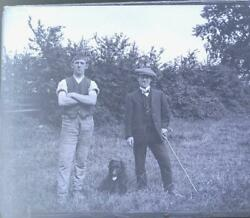 Glass Negative 1910s 2 Men And Dog Farm Workers Labourers Social History