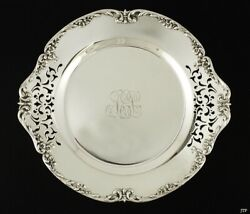 Antique C1910 Reed Barton Sterling Silver Floral Tray Dish 10 1/4
