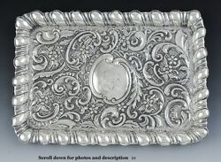Antique 1901 English Sterling Silver Floral Repousse Dresser Tray/dish 11/34x8