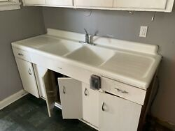 1950s American Standard Dual-basin Cast Iron Kitchen Sink And Base 3000 Obo
