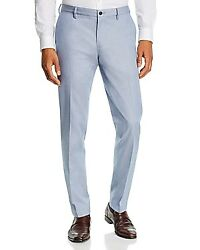 Brooks Brothers Dobby Blues Milano Stretch Gingham Classic Fit Chinos, Us 30x32