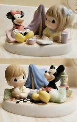 Precious Moments Disney Figurine Mickey And Minnie Mouse Camping Tent Girl And Boy