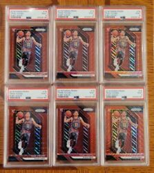 6x Trae Young 2019 Panini Prizm Ruby Wave Red Refractor 78 Rookie Psa 9 Lot
