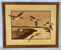 Vintage Hudson River Wood Inlay Marquetry 15.5 X 12.5 5 Geese Signed Nelson