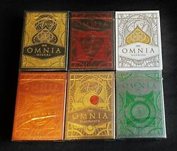 Omnia Playing Cards-complete 6 Deck Set + Carat Case Rare Thirdway Industries