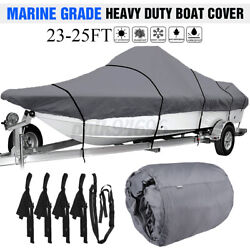23-25ft Waterproof Boat Cover Marine Grade For V-hull Center Console Boats Gray